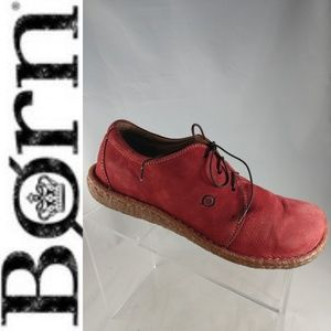 BORN Red Nubuck Leather Lace-Up CONCEPT Oxford 9.5